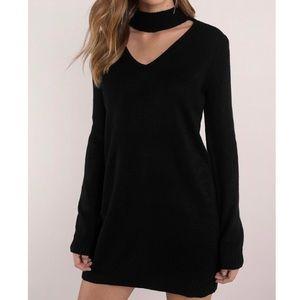 Tobi Black Choker Sweater Dress